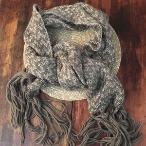 Express Taupe and Gold Thick Knit Scarf